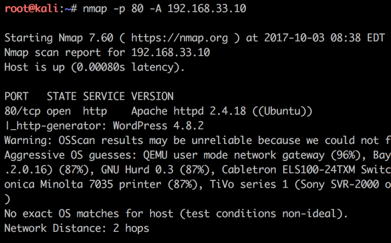 58889b43fe2 De la captura de pantalla anterior notamos que la secuencia de comandos  http-generator muestra la versión de WordPress