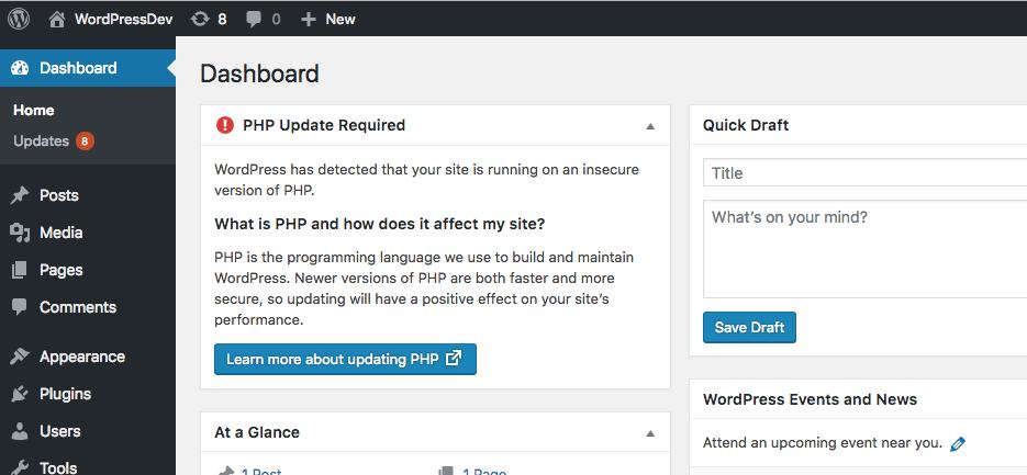 WordPress PHP Warning